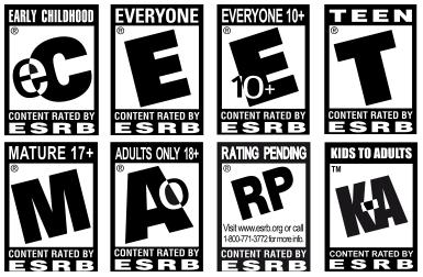 Así se ven las etiquetas de clasificación del ESRB, y están en todas las cajas de juegos desarrollados en Estados Unidos. Fuente de la foto.