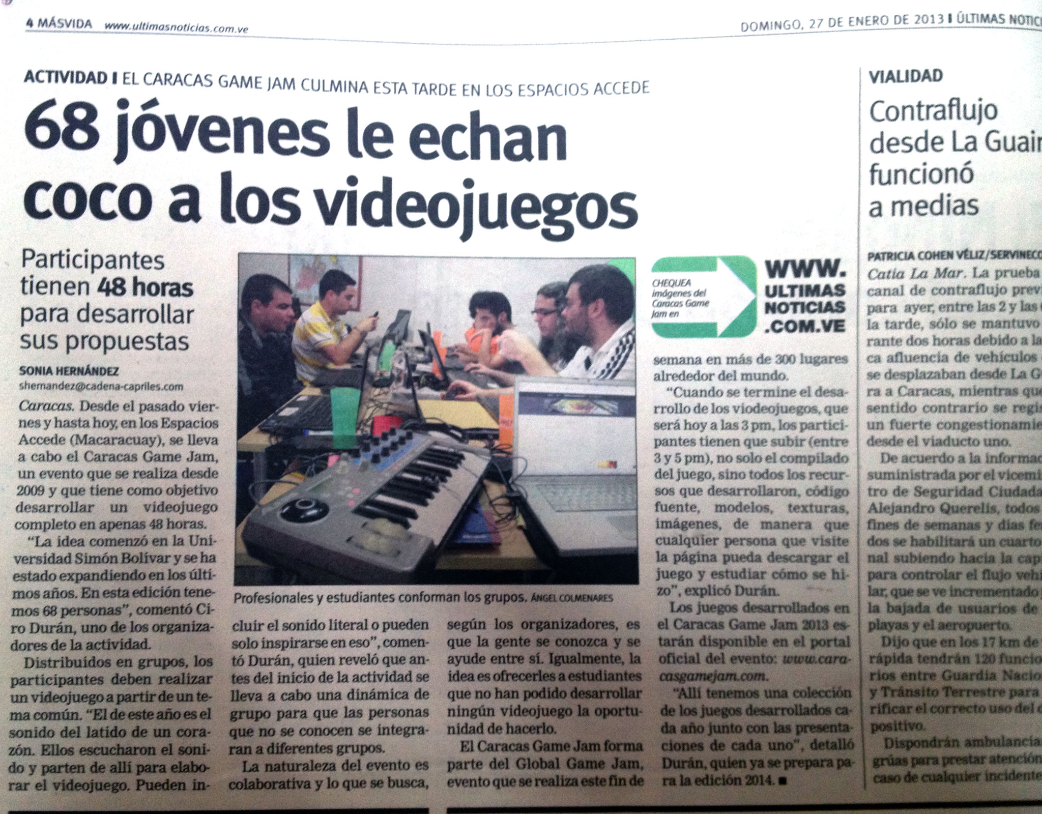 Caracas game jam 2013 68 j venes le echan coco a los for Ultimas noticias de espectaculos internacionales