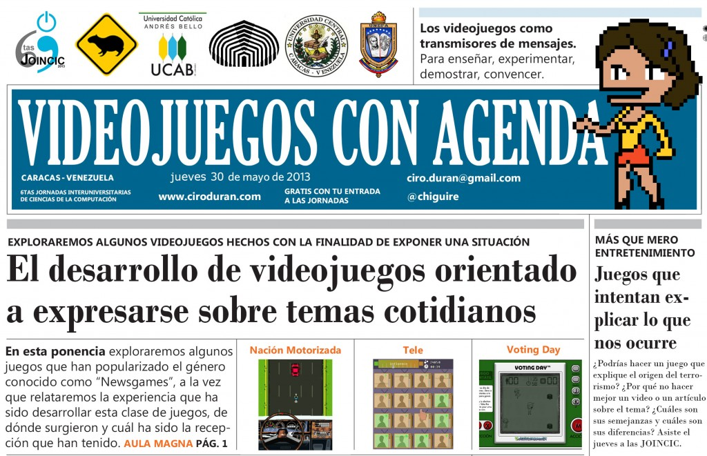 Videojuegos con agenda: el desarrollo de videojuegos orientado a expresarse sobre temas cotidianos