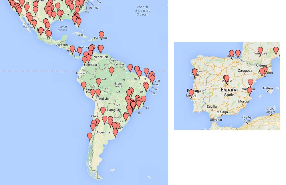 Las sedes del GGJ 2014 en Iberoamérica
