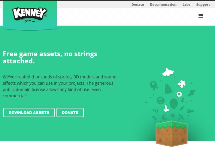 Screenshot de la página Kenney.nl
