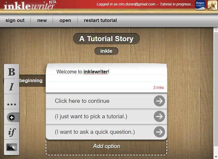 Screenshot de InkleWriter