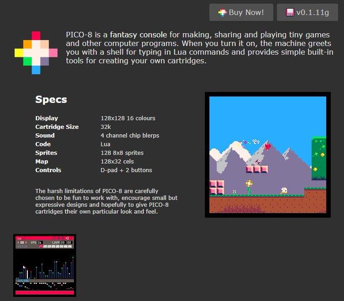 Screenshot de la página de PICO-8