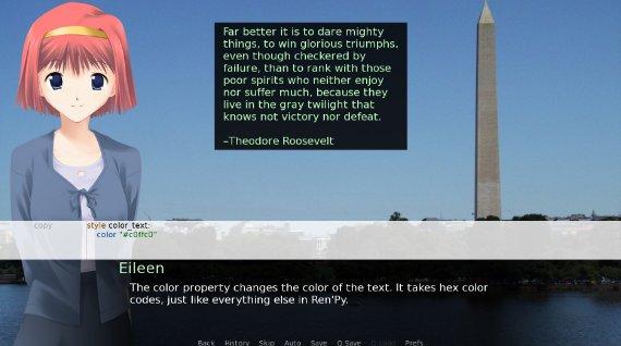 Screenshot del juego de ejemplo de RenPy